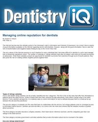 Managing online reputation for dentists