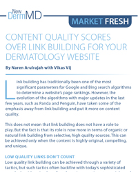 Content Quality Scores Over Link Building for your Dermatology Website