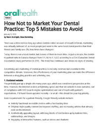 How not to market your dental practice - Top 5 mistakes to avoid