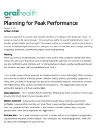 Planning for Peak Performance