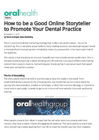 How to be a Good Online Storyteller to Promote Your Dental Practice?