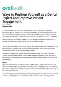 Ways to Position Yourself as a Dental Expert and Improve Patient Engagement