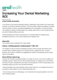 Increasing your dental marketing ROI
