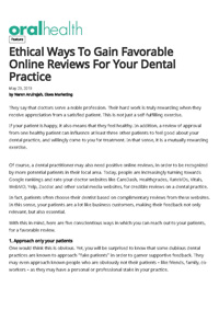 Ethical Ways to Gain Favorable Online Reviews for Your Dental Practice
