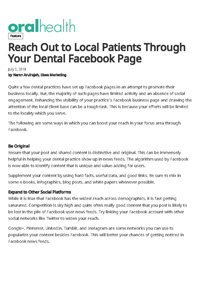 Reach out to Local Patients through Your Dental Facebook Page