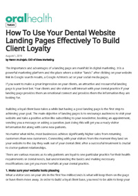 How to Use Your Dental Website Landing Pages Effectively to Build Client Loyalty?