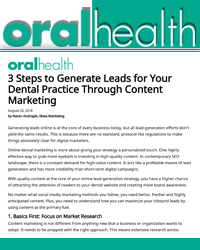 3 Steps to Generate Leads for Your Dental Practice Through Content Marketing