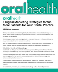 6 Digital Marketing Strategies to Win More Patients for Your Dental Practice