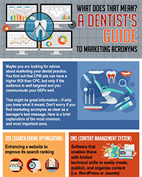As seen in the June 2017 Issue of Oral Health Blog - What does that mean? A dentist's guide to marketing acronyms